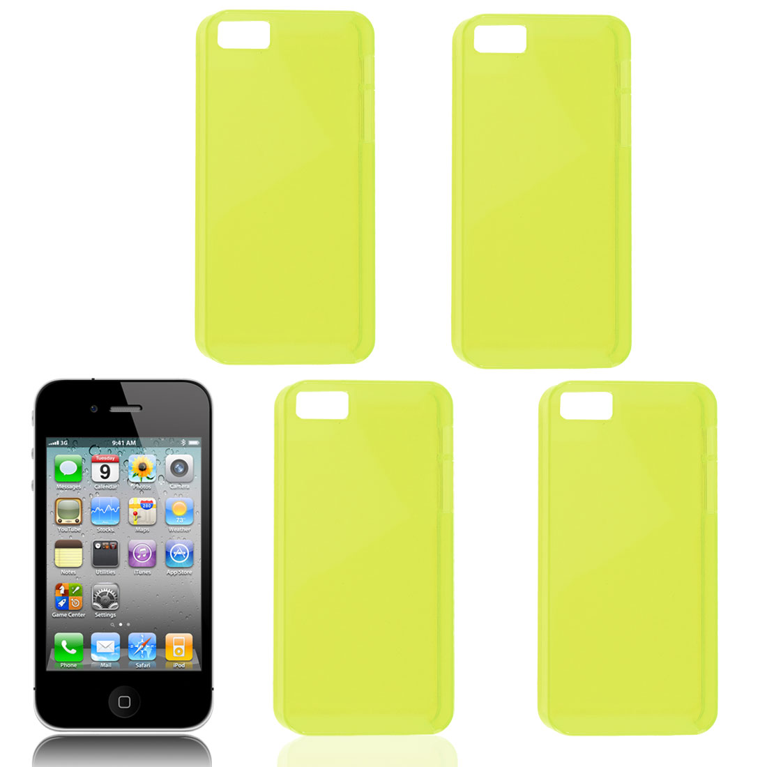4 Pcs Yellow Plastic Protector Shell Back Case Cover for iPhone 5 5S 5G 5GS