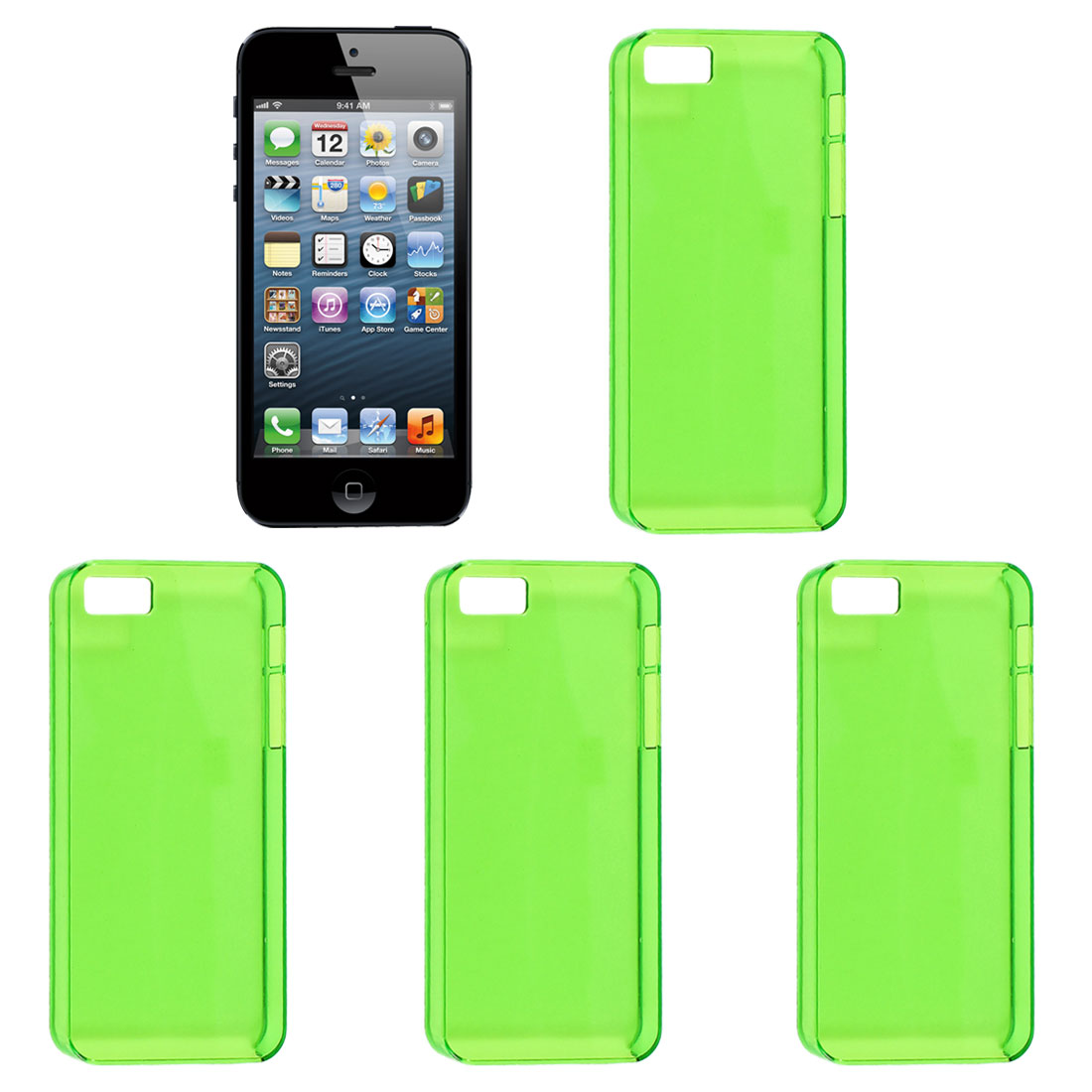 4 Pcs Green Plastic Protector Shell Back Case Cover for iPhone 5 5S 5G 5GS