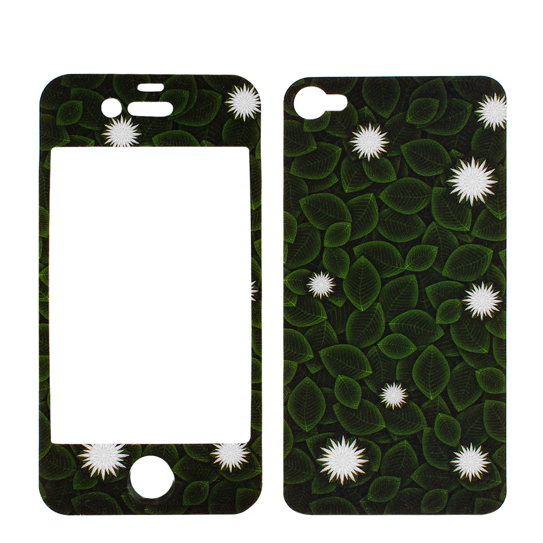 Front + Back Sticker Decal Guard Shield Dark Green Leaf Pattern 2 Pcs for iPhone 4 4G 4S