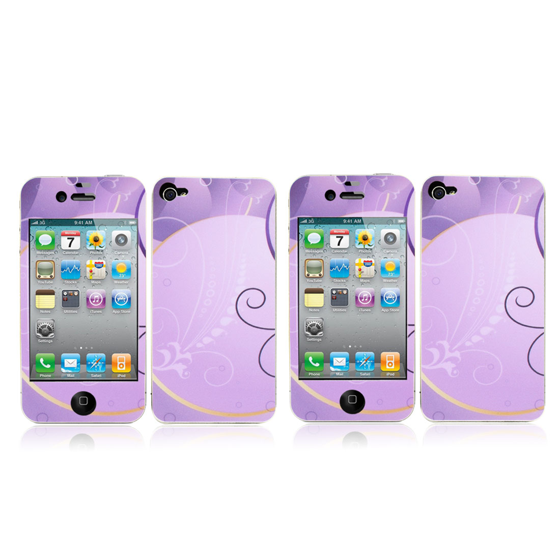 Front + Back Sticker Decal Guard Shield Protector Purple 2 Pcs for iPhone 4 4G 4S