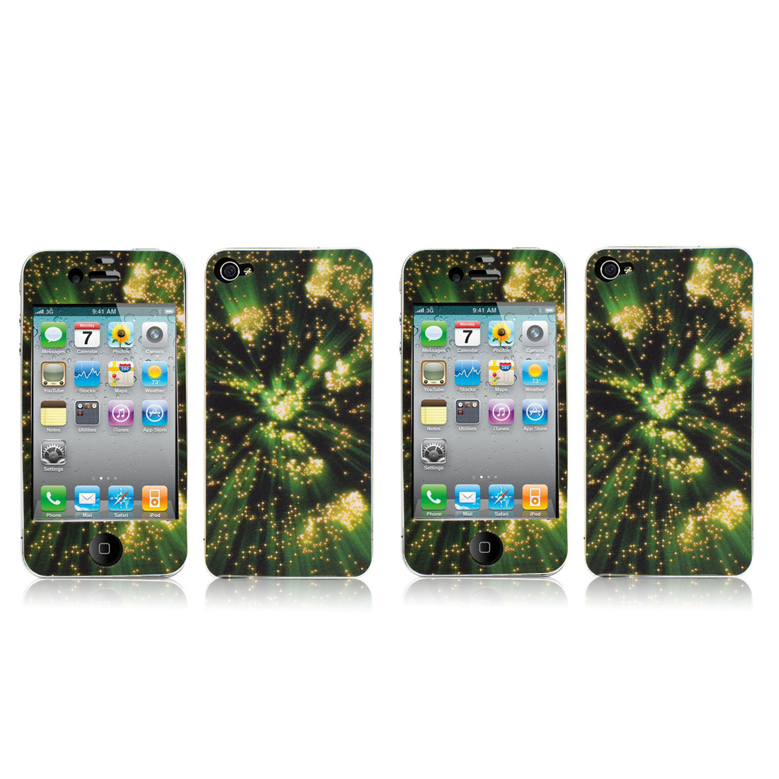 2 Pcs Star Sky Green Front Back Sticker Cover Protector for iPhone 4 4G 4S 4GS