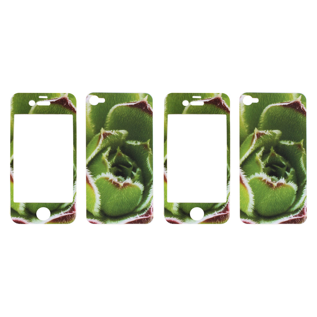 2 Pcs Green Flower Vinyl Front Back Sticker Cover Protector for iPhone 4 4G 4S 4GS