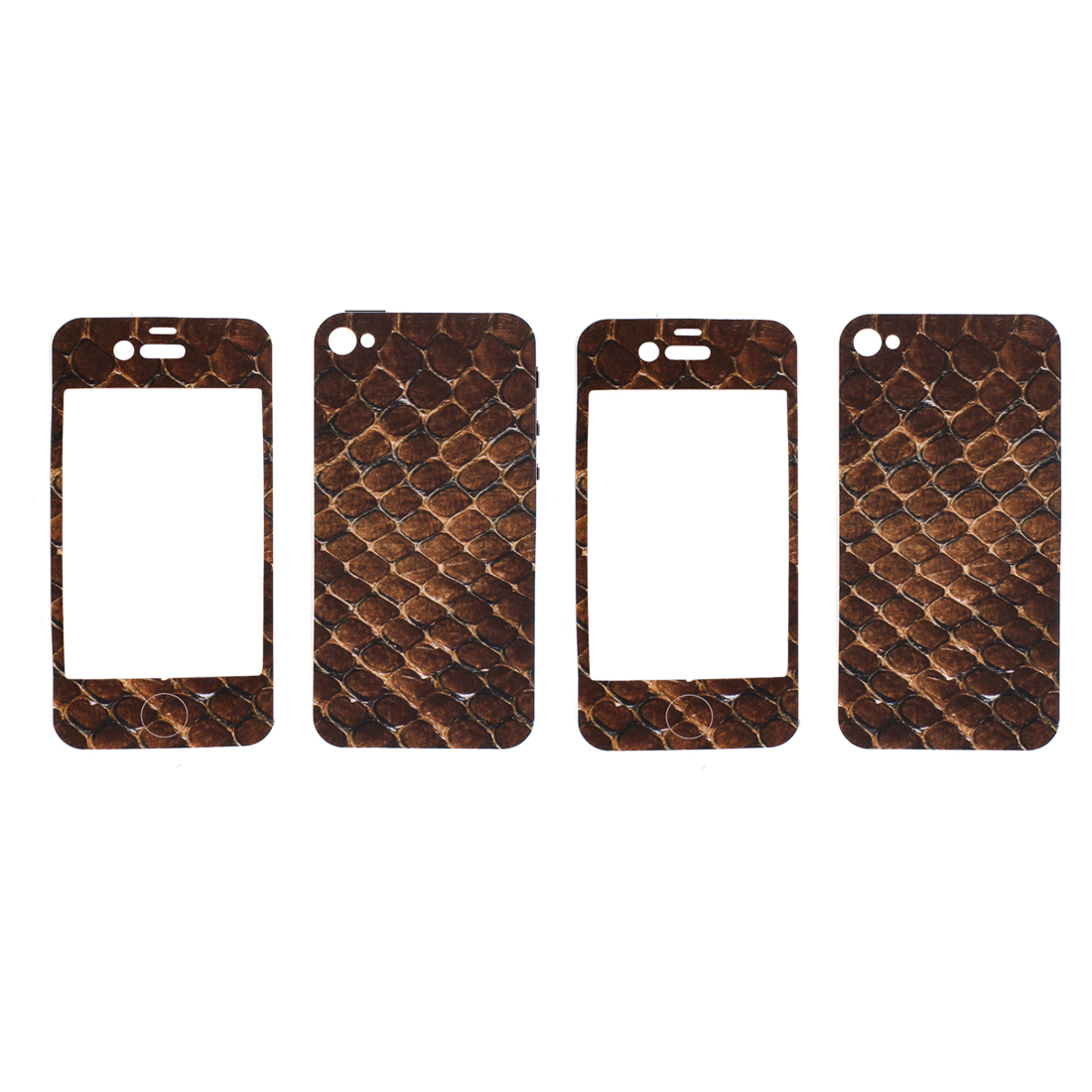 2 Pcs Brown Crocodile Pattern Front Back Sticker Cover Protector for iPhone 4 4G 4S 4GS