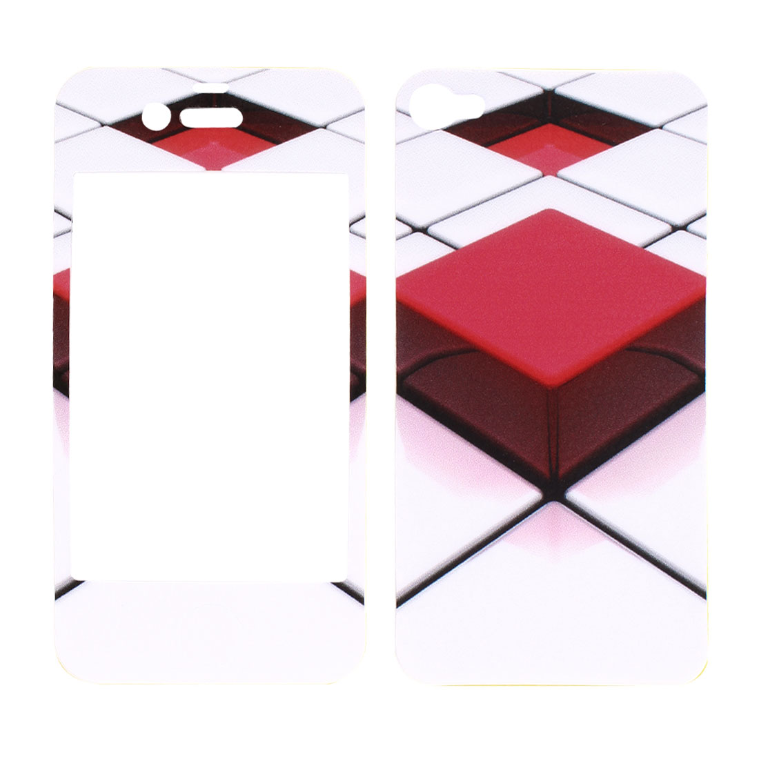 2 Pcs Red White Solid Block Pattern Vinyl Front Back Sticker Cover Protector for iPhone 4 4G 4S 4GS