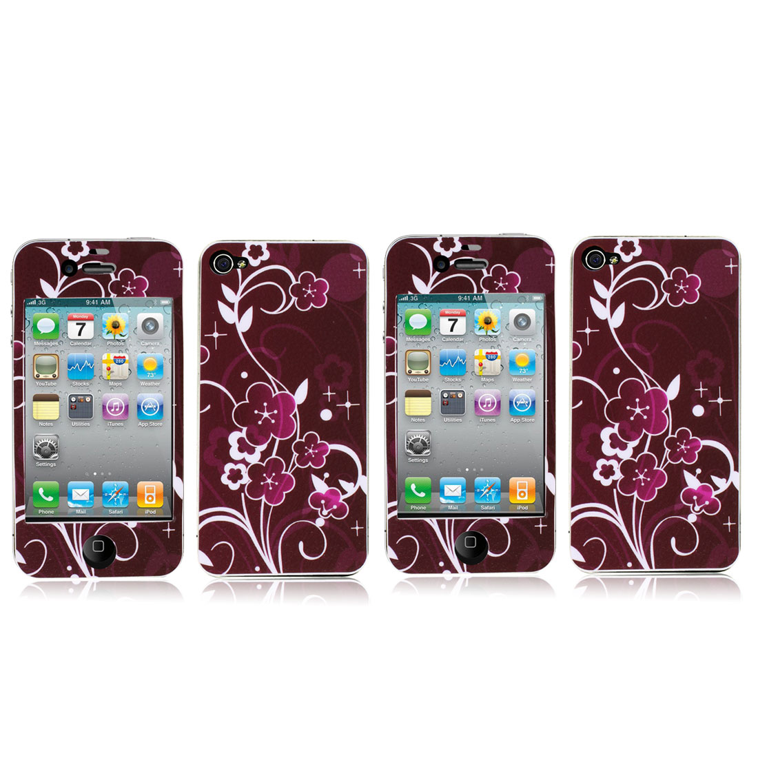 2 Pcs Burgundy Vinyl Front Back Sticker Cover Protector for iPhone 4 4G 4S 4GS