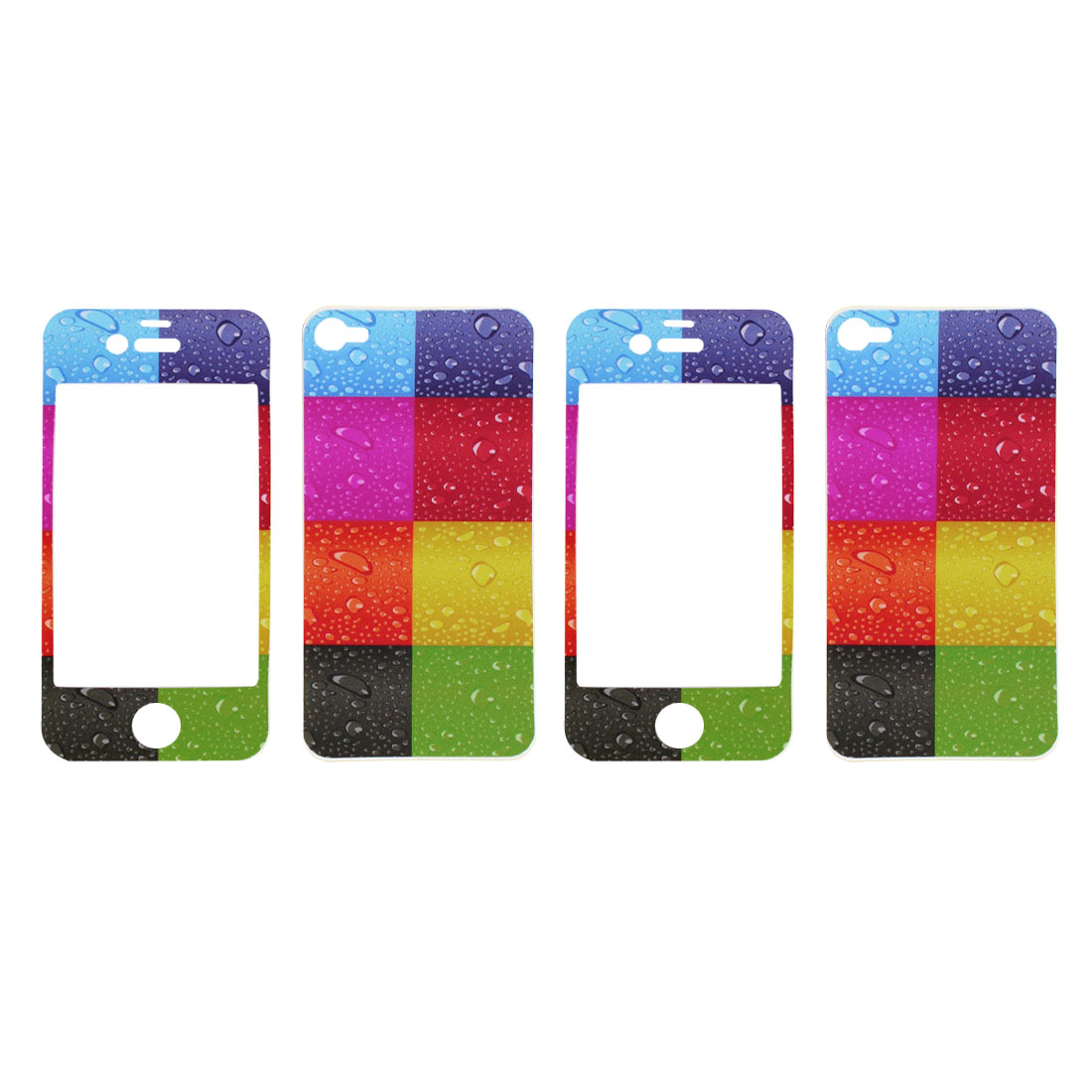 Rain Drop Pattern Vinyl Front Back Decal Sticker Colors 2 Pcs for iPhone 4 4G 4S 4GS