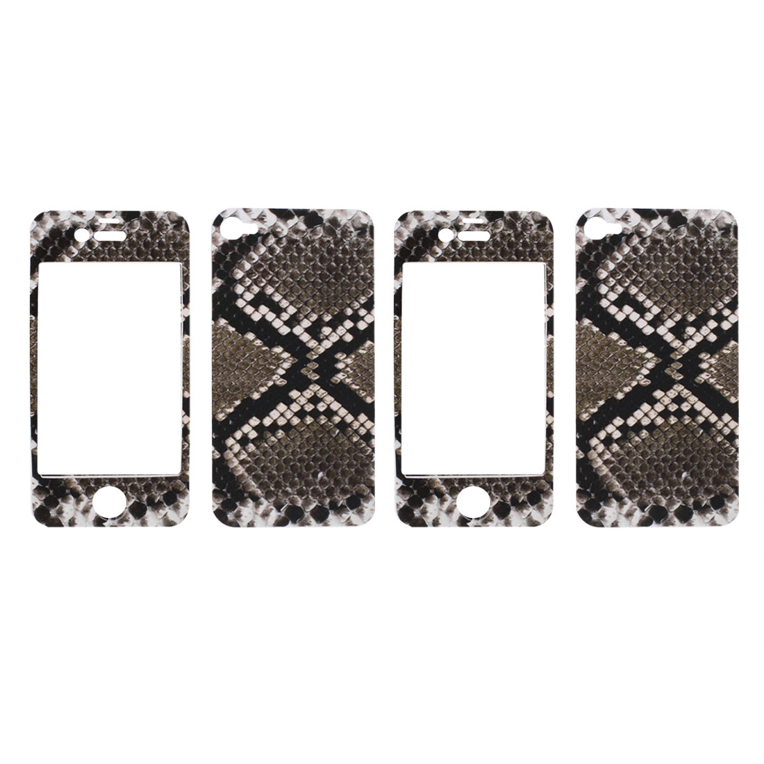 Snake Pattern Gray Black Vinyl Front Back Decal Sticker 2 Pcs for iPhone 4 4G 4S 4GS