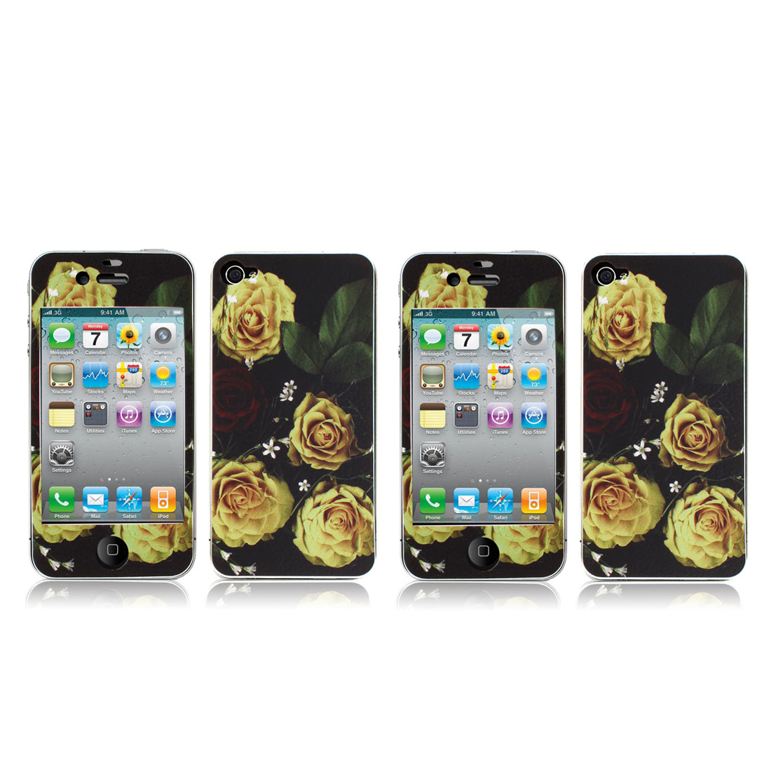 Yellow Rose Vinyl Front Back Decal Sticker Film Guard 2 Pcs for iPhone 4 4G 4S 4GS