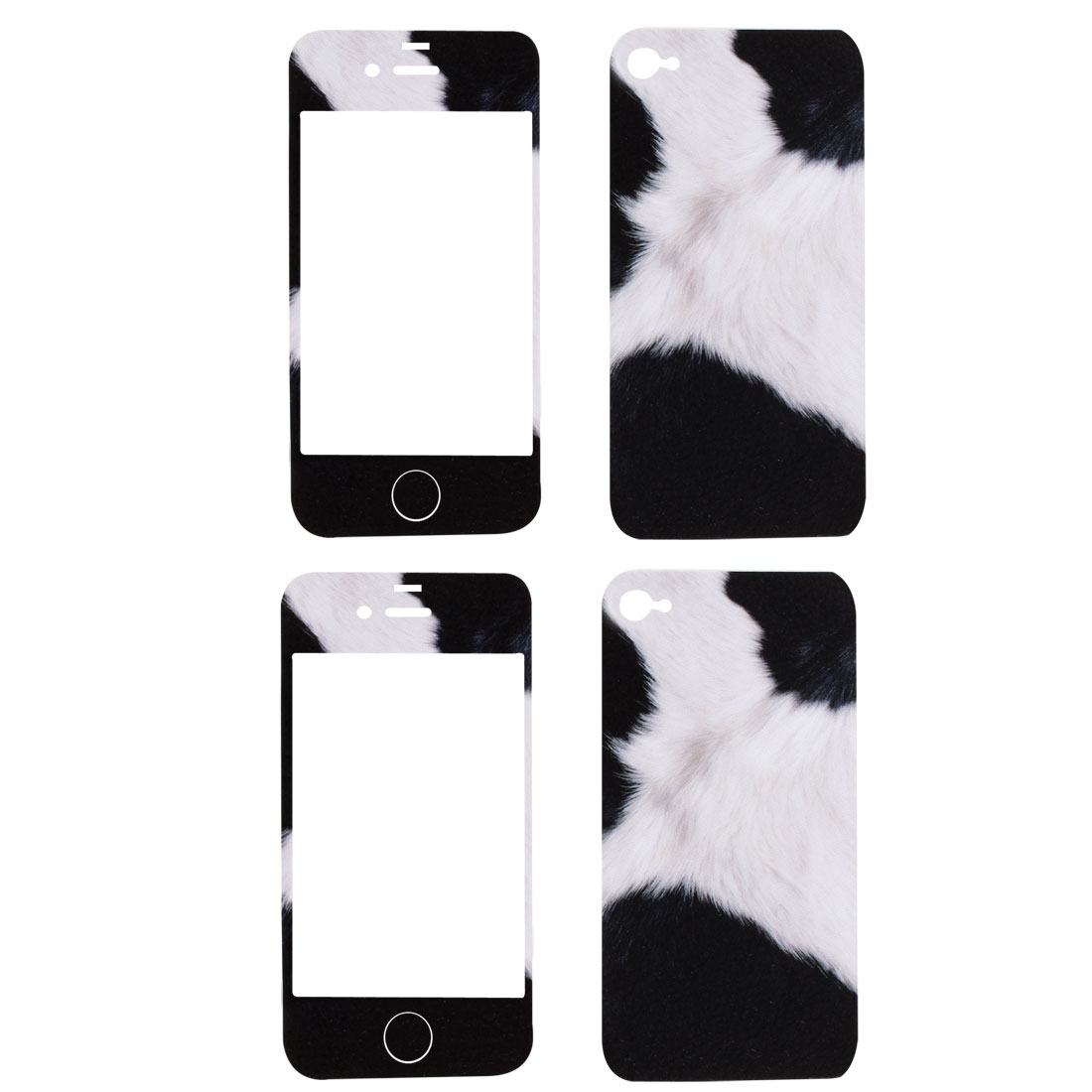 Black White Cat Pattern Vinyl Front Back Decal Sticker 2 Pcs for iPhone 4 4G 4S 4GS