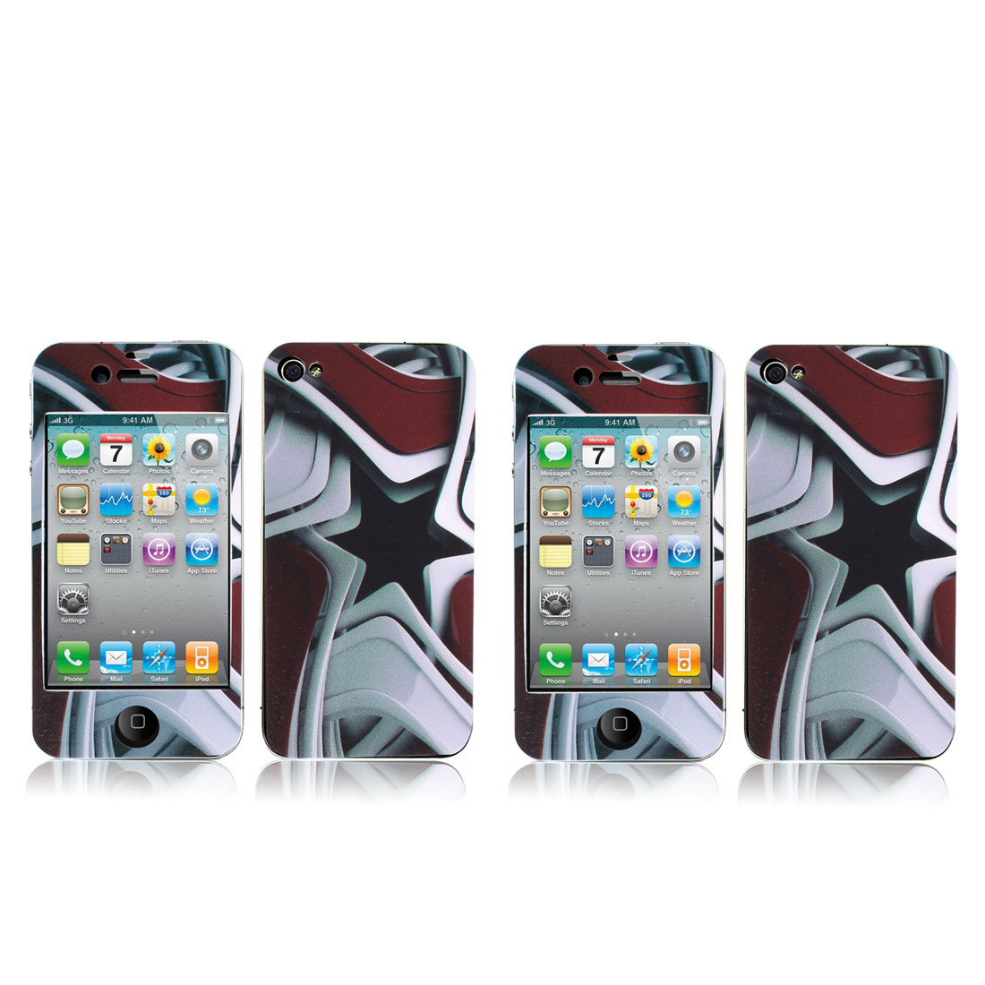 Tri Color Front Back Sticker Cover Film Guard 2 Pcs for iPhone 4 4G 4S 4GS