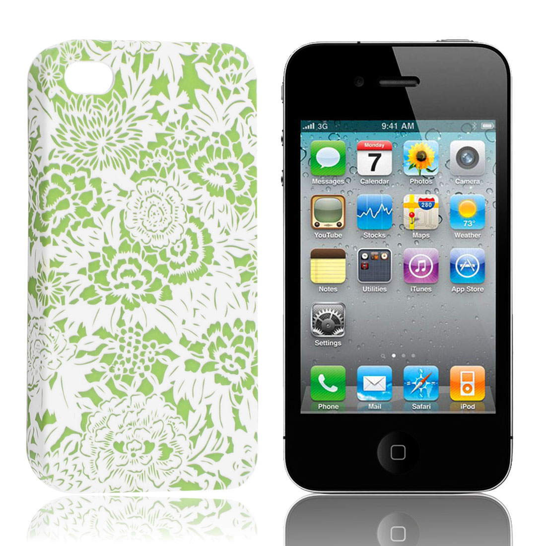 Green White Floral Hard Back Case Shell for iPhone 4 4G 4th Generation