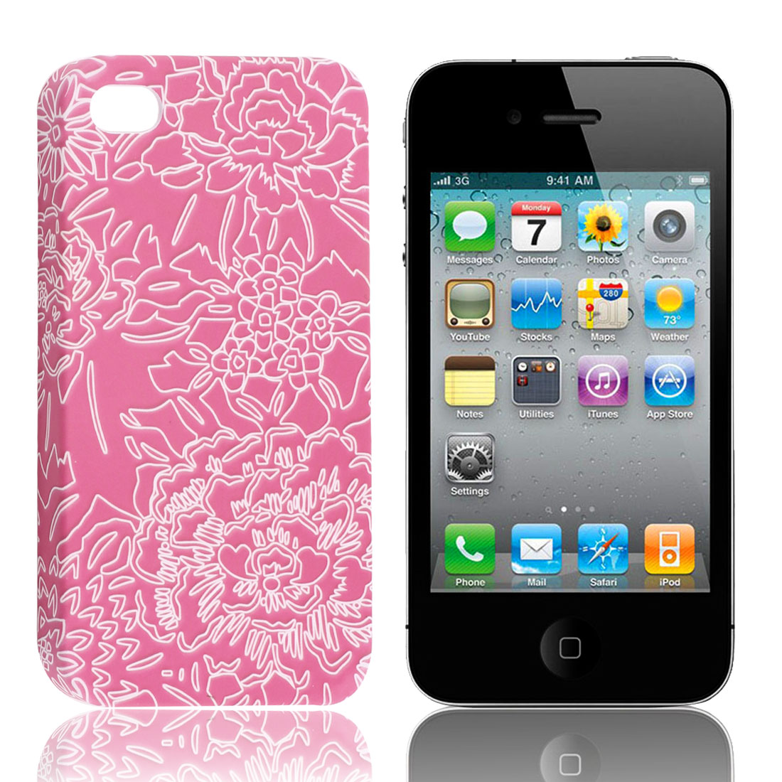 Fuchsia White Flower Pattern Hard Back Case Cover for Apple iPhone 4 4G 4th