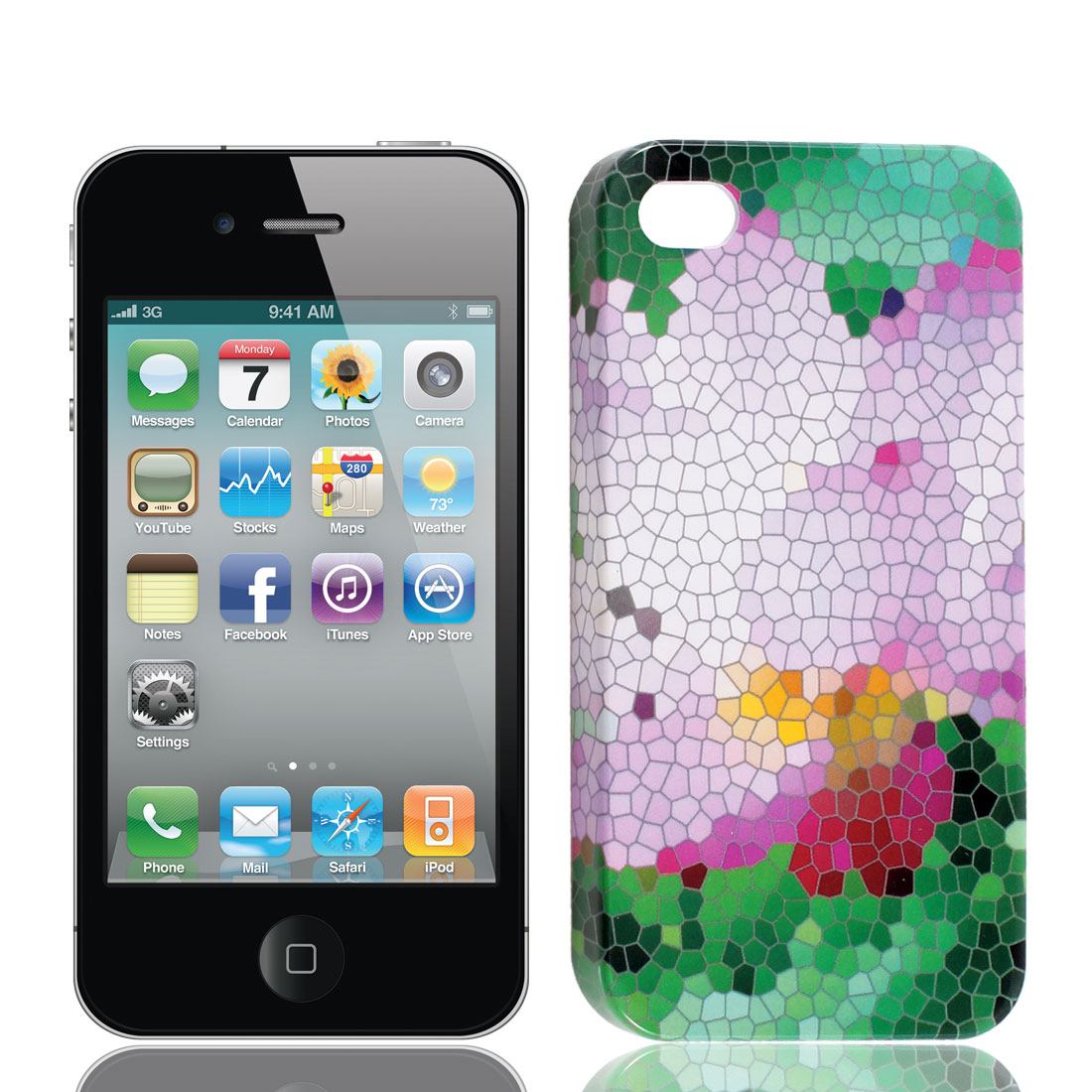 Green White Purple Stone Pattern Hard Back Case Cover for Apple iPhone 4 4G 4th