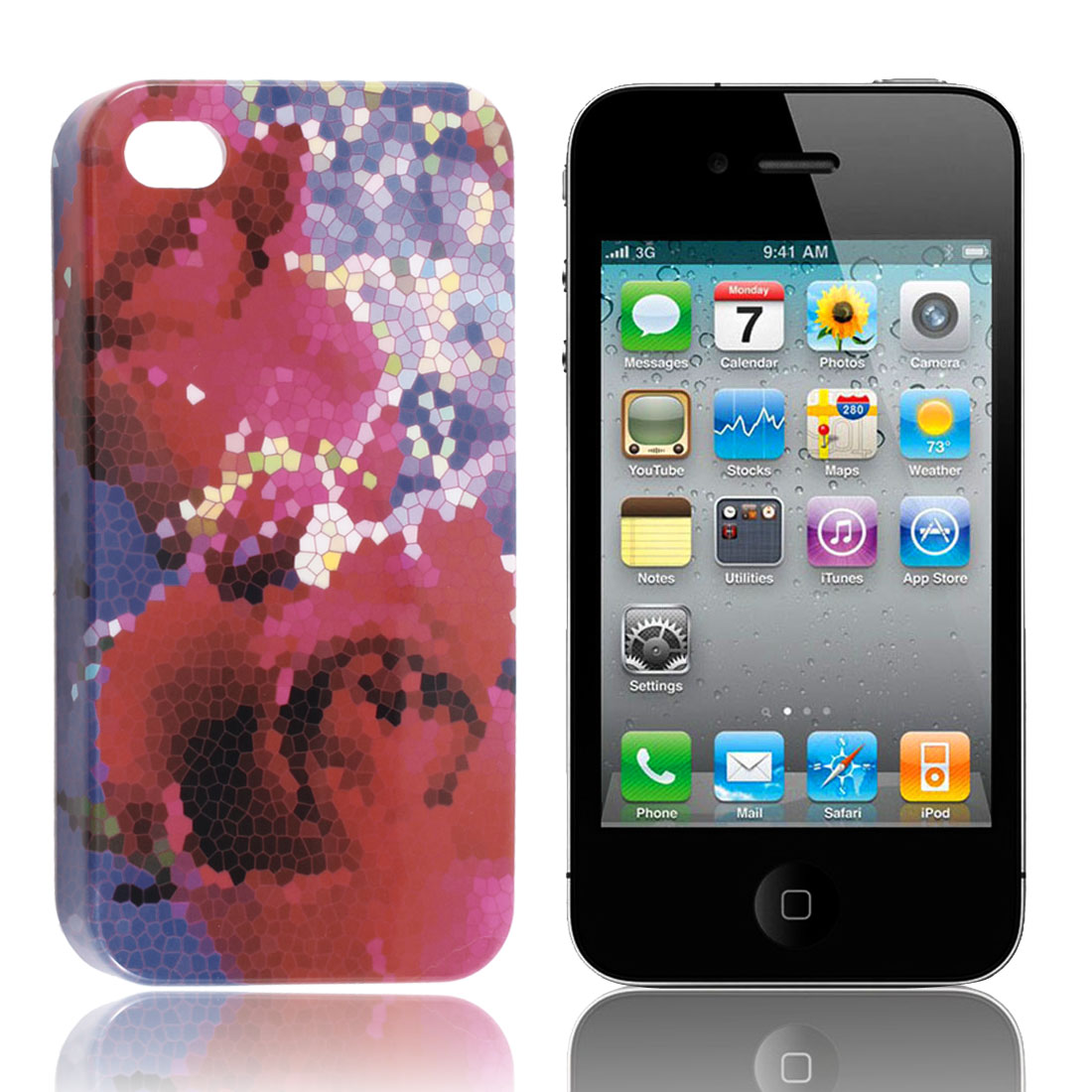 Red Blue Stone Print Hard Back Case Shell for iPhone 4 4G 4th 4S 4GS