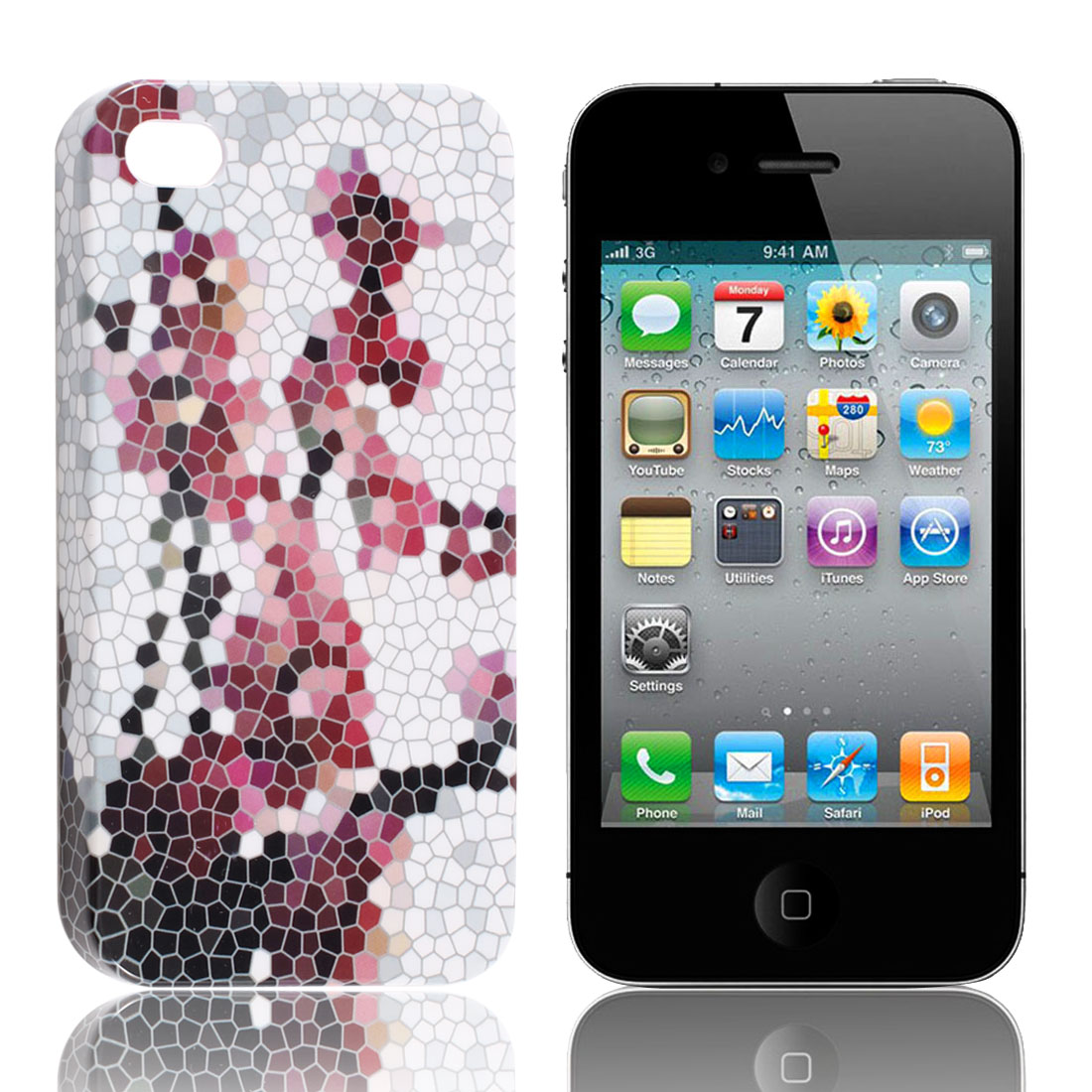 Colorful Stone Print Hard Back Case Shell for iPhone 4 4G 4th 4S 4GS