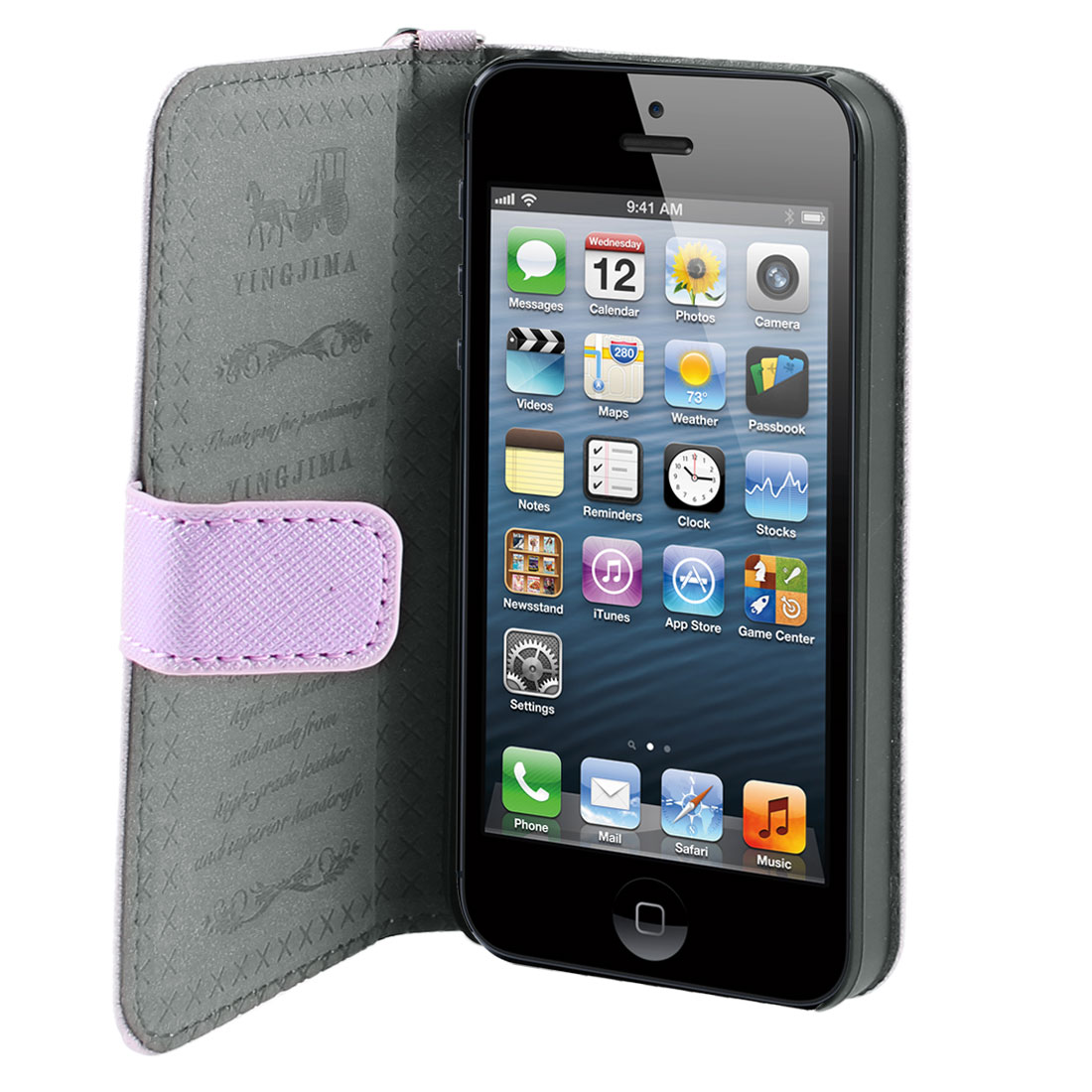 Pink Faux Leather Magnetic Flip Case Cover Pouch Holder for iPhone 5 5G 5th