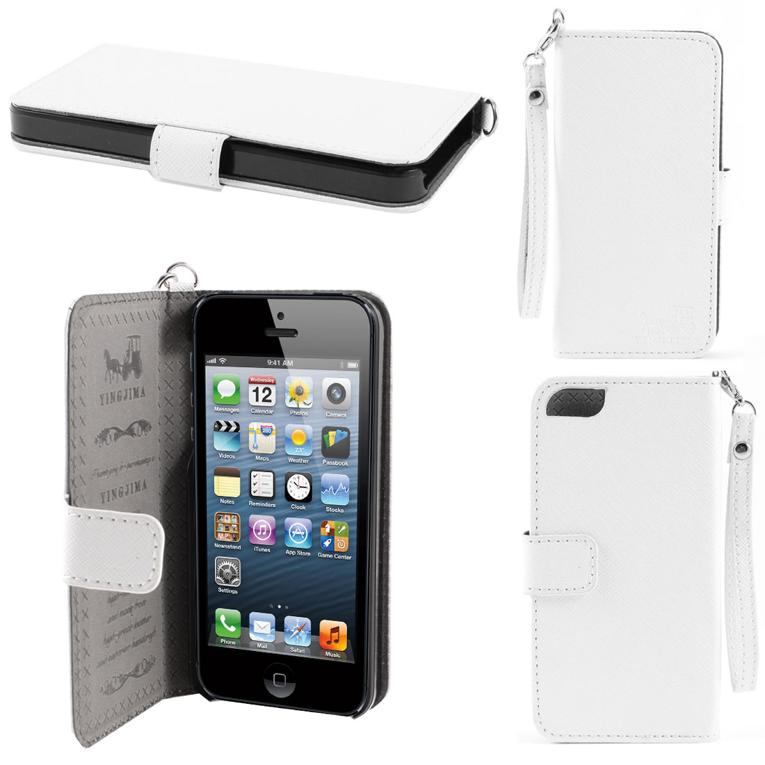 White Faux Leather Magnetic Flip Case Cover Pouch Holder for iPhone 5 5G 5th