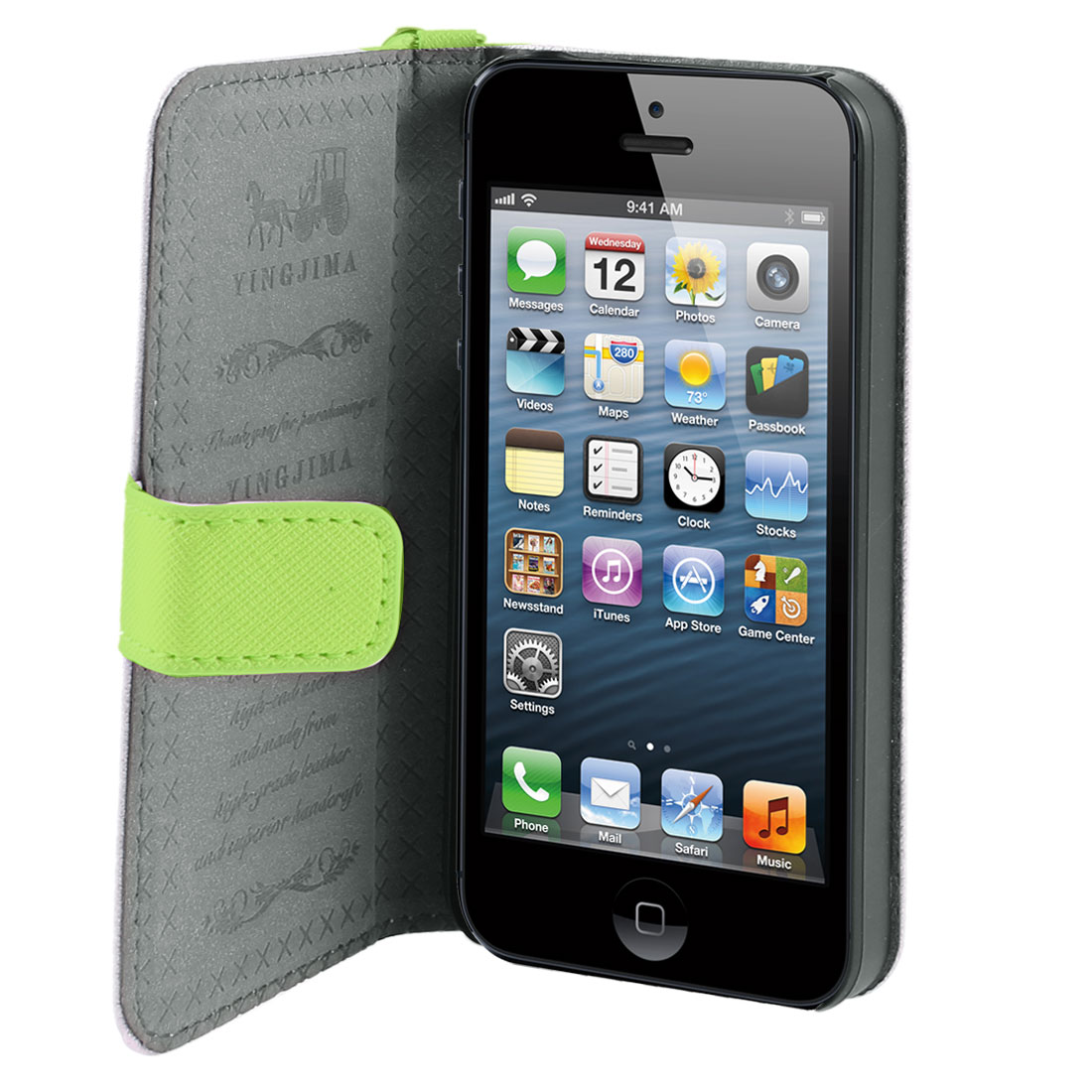Green Faux Leather Magnetic Flip Case Cover Pouch Holder for iPhone 5 5G 5th