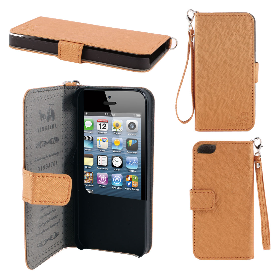 Orange Faux Leather Magnetic Flip Case Cover Pouch Holder for iPhone 5 5G 5th