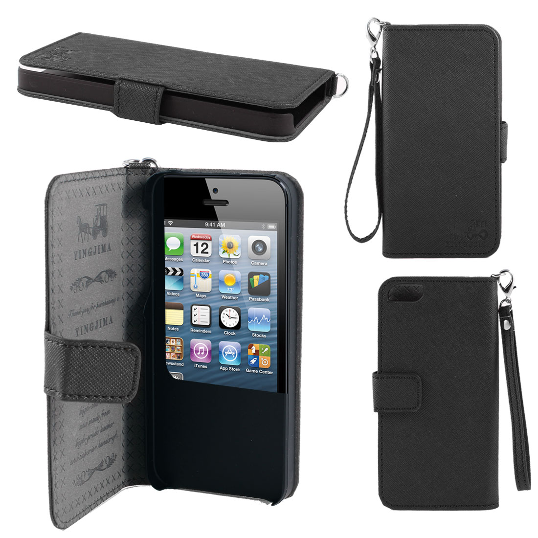 Black Faux Leather Magnetic Flip Case Cover Pouch Holder for iPhone 5 5G 5th
