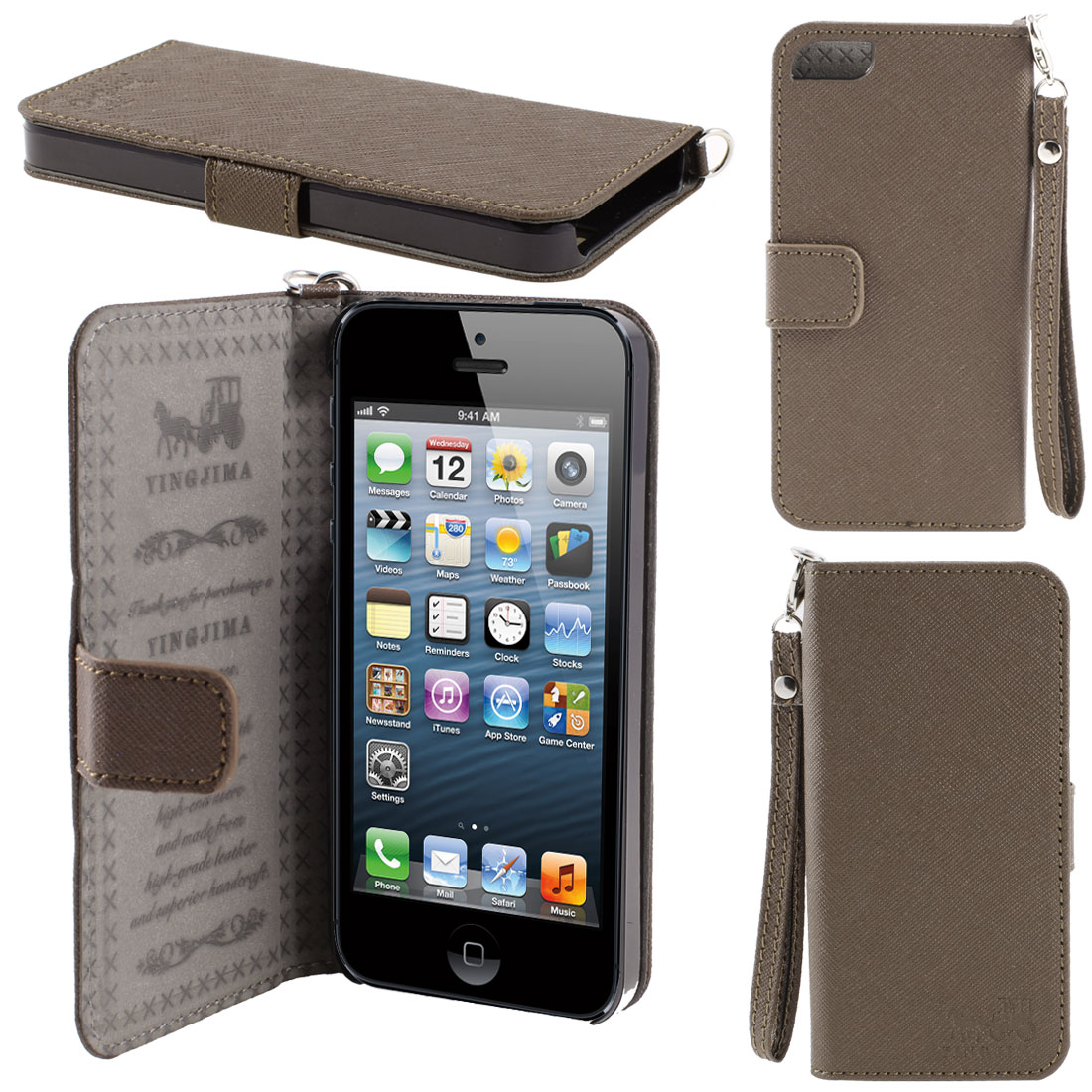 Coffee Color Faux Leather Magnetic Flip Case Cover Pouch Holder for iPhone 5 5G