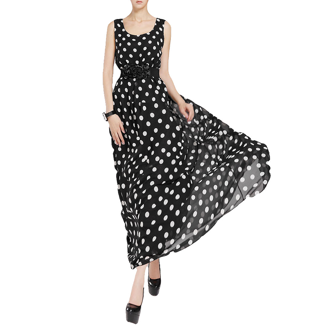 Women Round Neck White Dots Print Black Chiffon Tank Dress S w Cinch Belt