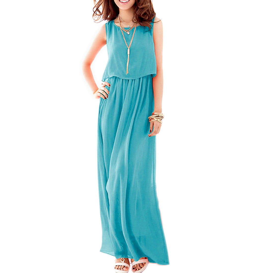 Scoop Neck Sleeveless Elastic Waist Maxi Dress Turquoise XS for Ladies