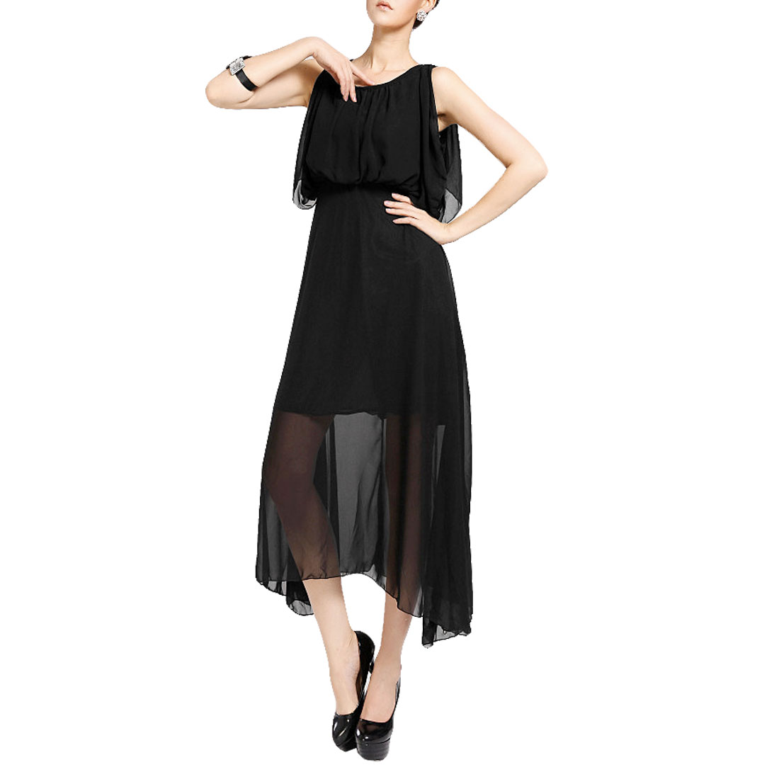 Women Black Round Neck Sleeveless Summer Maxi Dress S