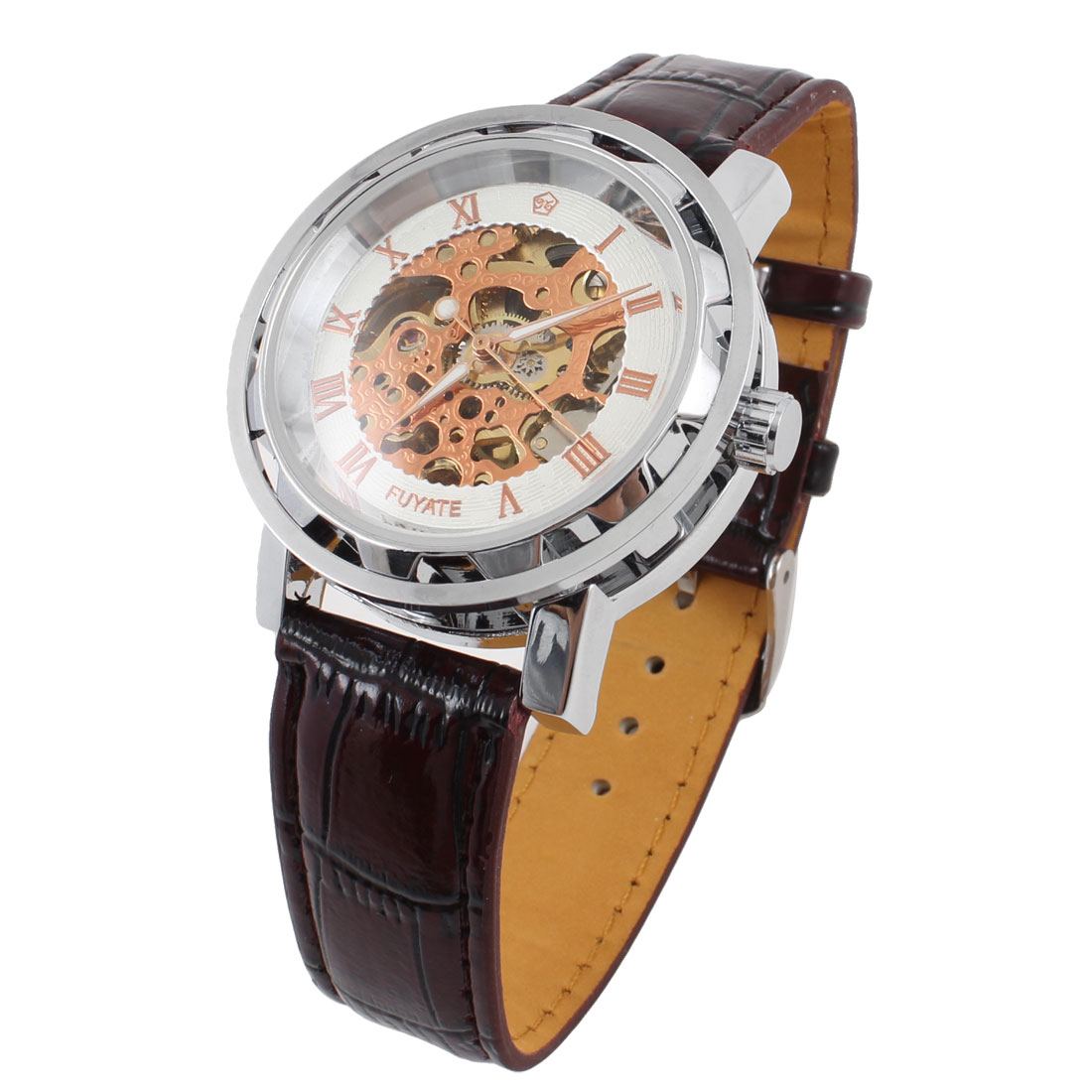 Men Hollow Out Case Fuax Leather Band Round Dial Mechanical Wristwatch