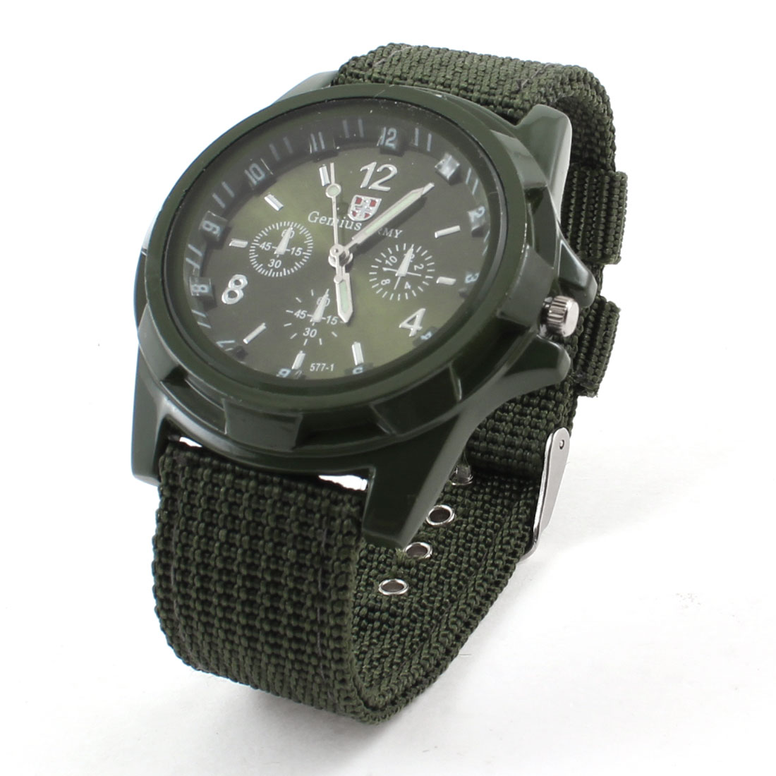 Men Round Case Nylon Strap Arabic Number Wrist Watch Army Green