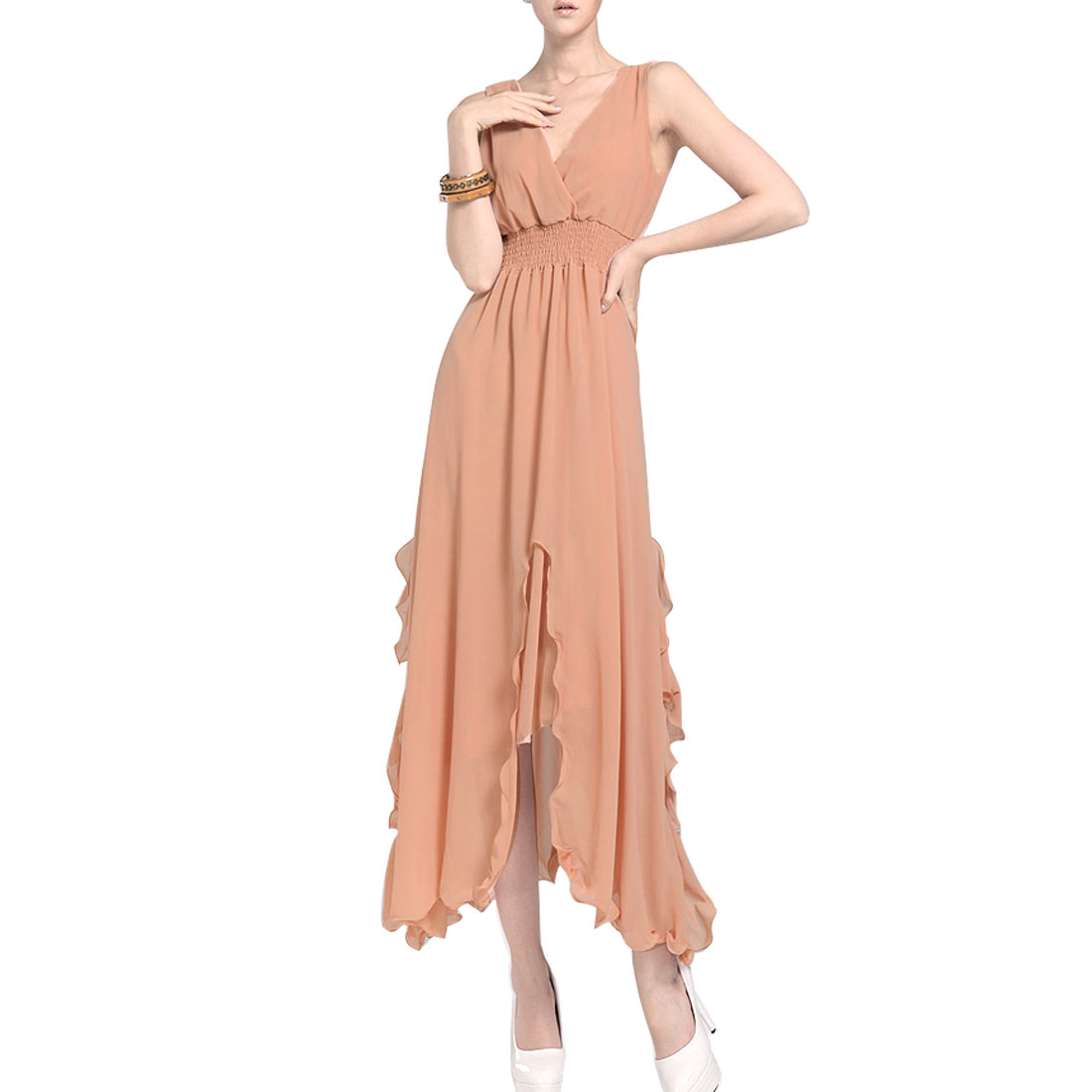 Summer Sleeveless Elastic Waist Chiffon Dress Peach Pink XS for Ladies