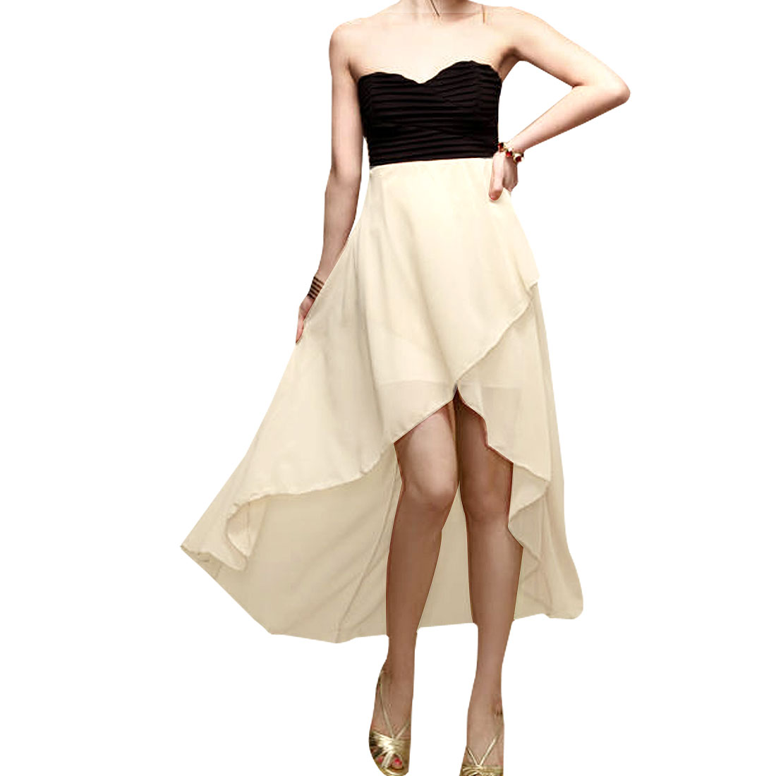 Ladies Sleeveless Black Back Hollow Out Cross Beige Chiffon Tube Dress XS