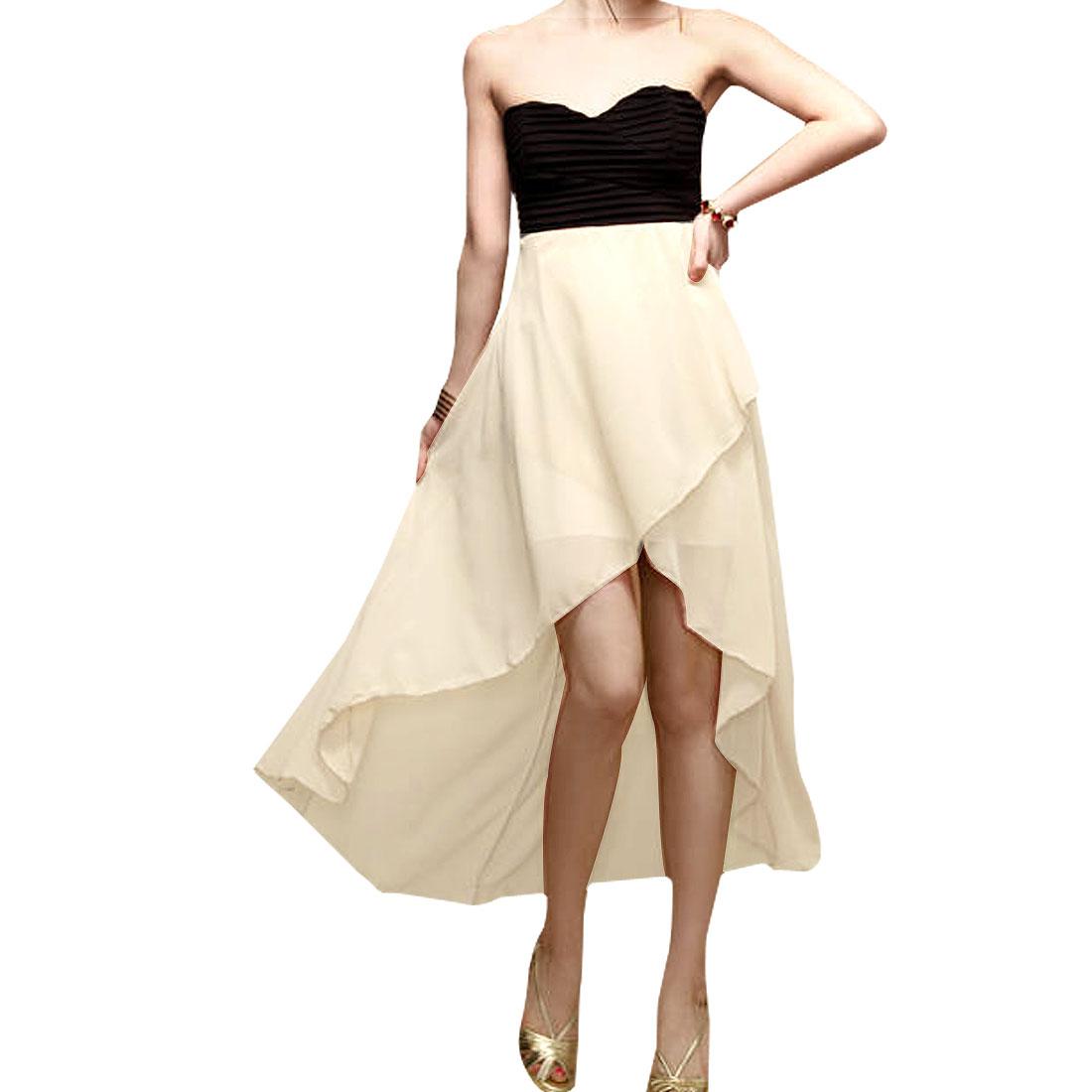 Ladies Sleeveless Black Back Hollow Out Cross Beige Chiffon Tube Dress XS