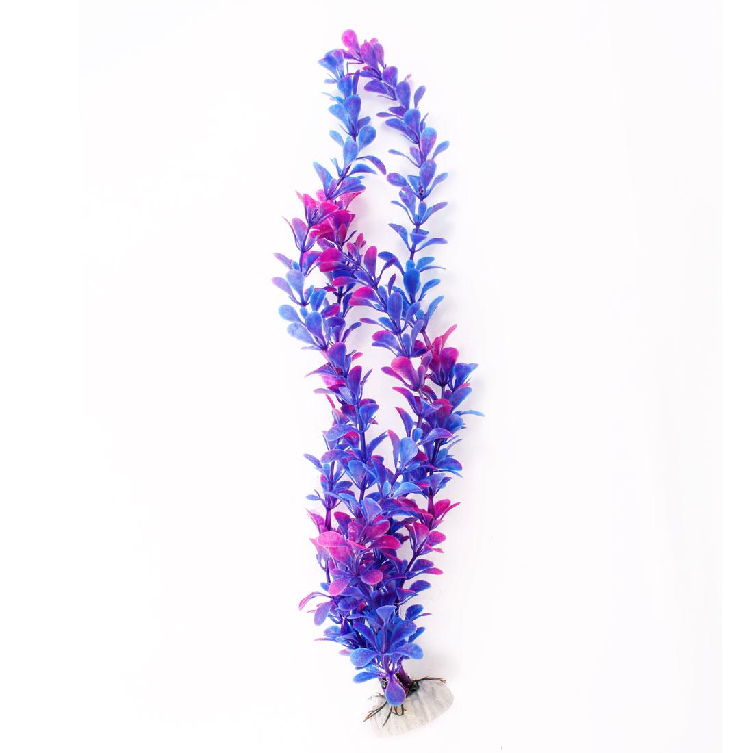 """13.7"""" High Blue Purple Plastic Underwater Grass Decoration for Fish Tank Aquarium"""