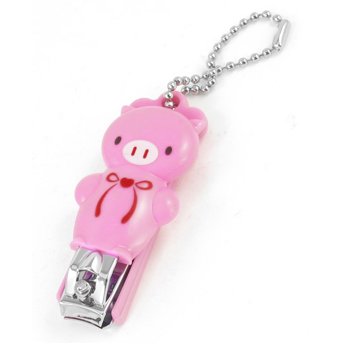 10mm Width Cutter Key Ring Pink Plastic Bowknot Decor Pig Shape Nail Clipper Tool