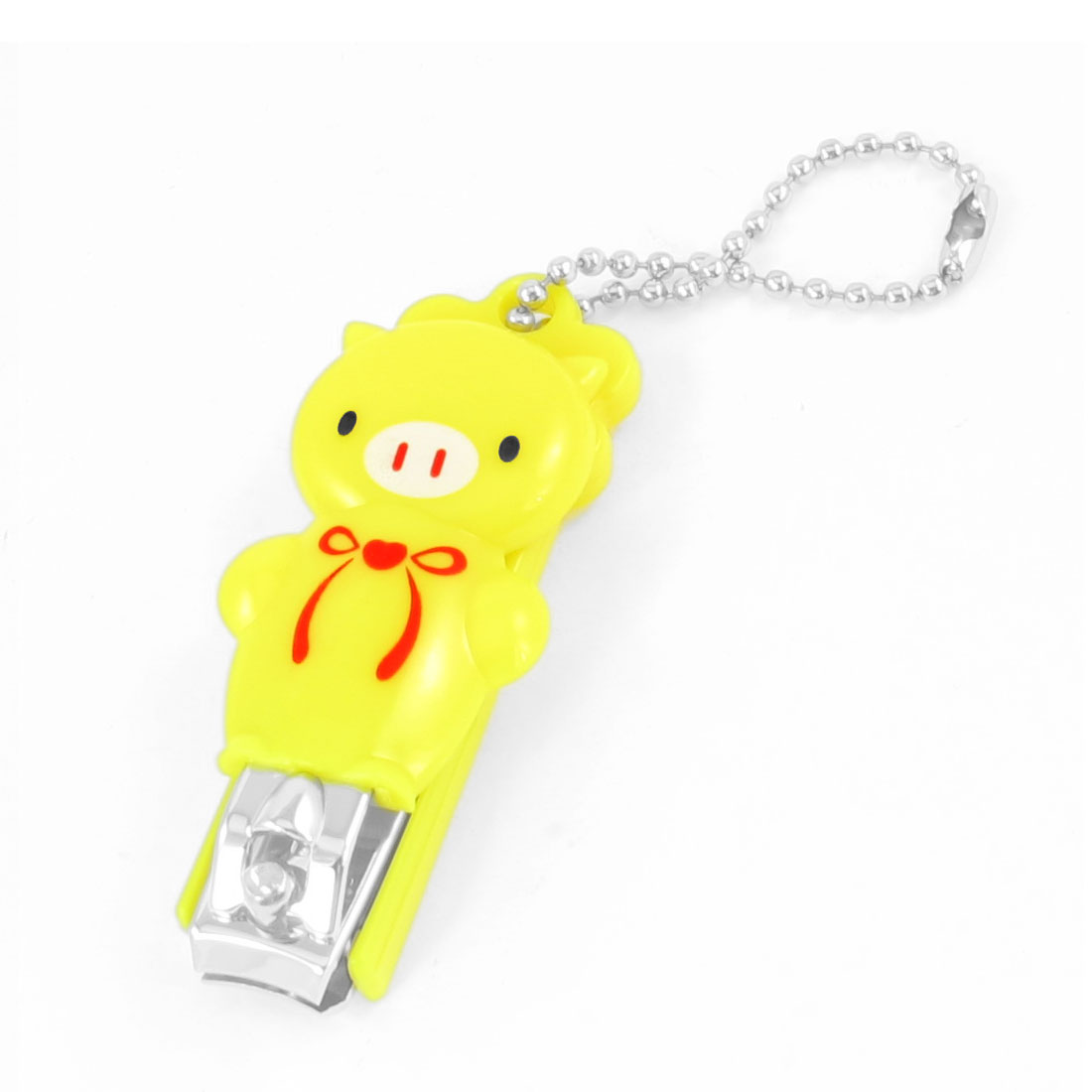 Yellow Plastic Bowknot Cartoon Pig Coated Metal Toe Cutter Nail Clipper Manicure