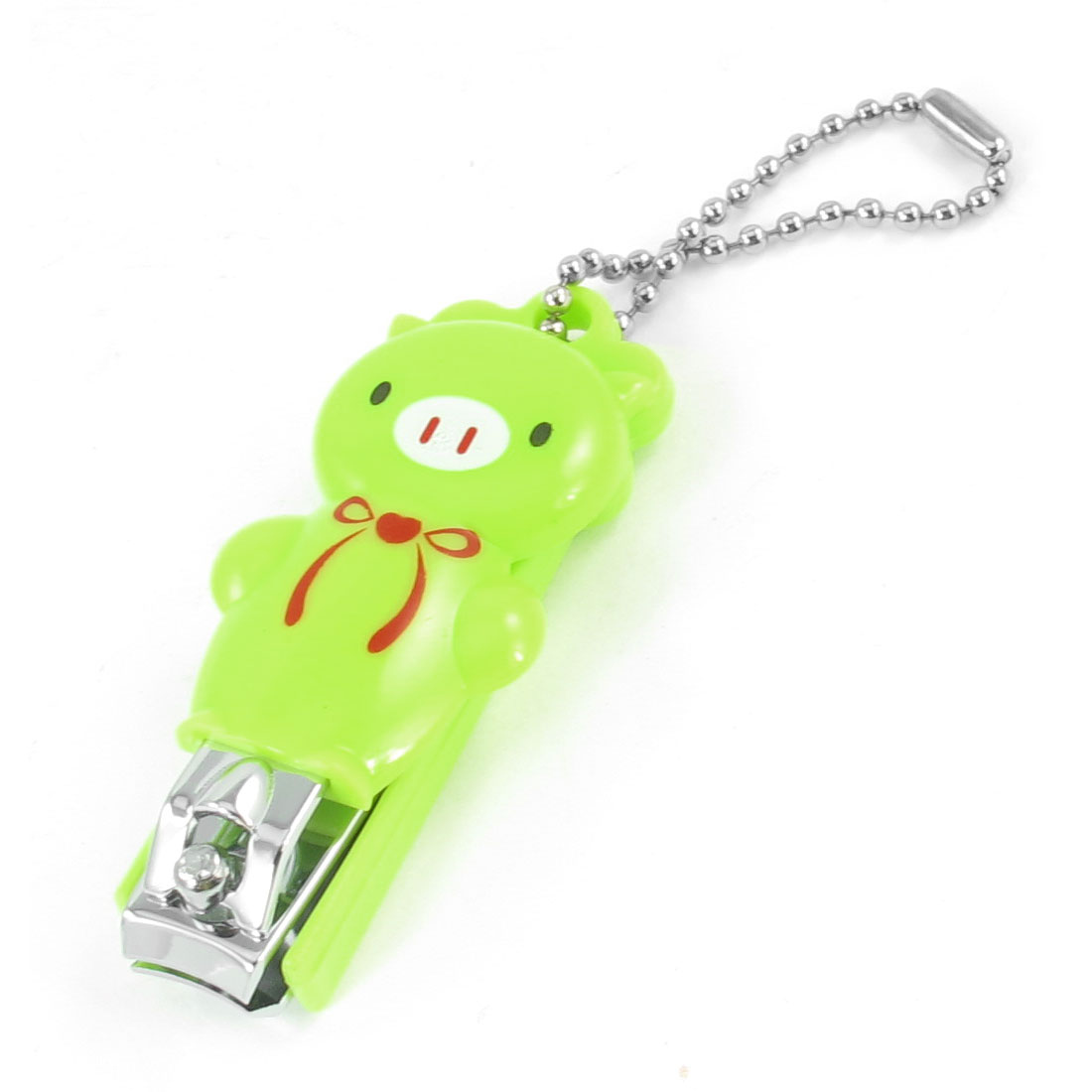 Portable Plastic Cartoon Pig Design Coated Metal Nail Toe Clipper Yellow Green