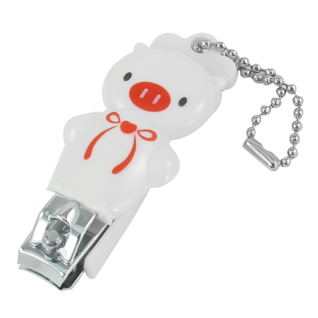 Mini Bowknot Detail Pig Design White Plastic Metal Nail Toe Clipper w Key Ring