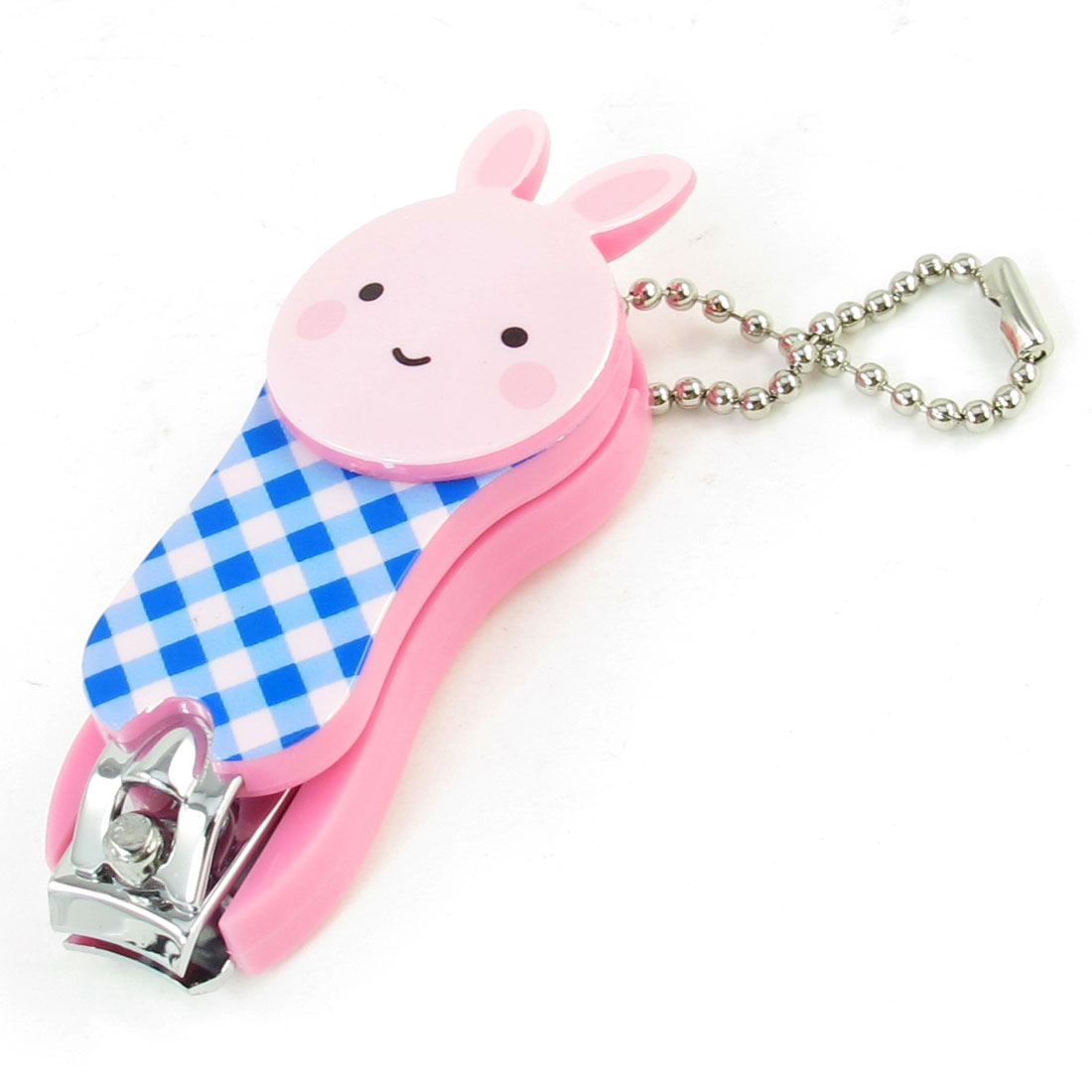 10mm Wide Mouth Key Ring Pink Blue Cartoon Rabbit Design Nail Clipper Tool