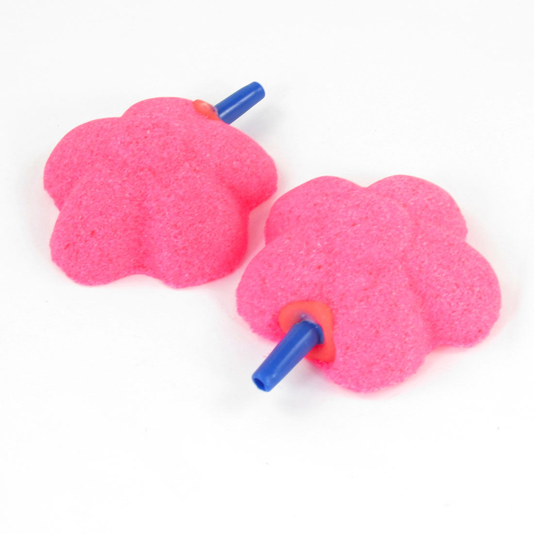 2Pcs Pink Flower Shape Air Stones Ornaments for Fresh Marine Aquarium