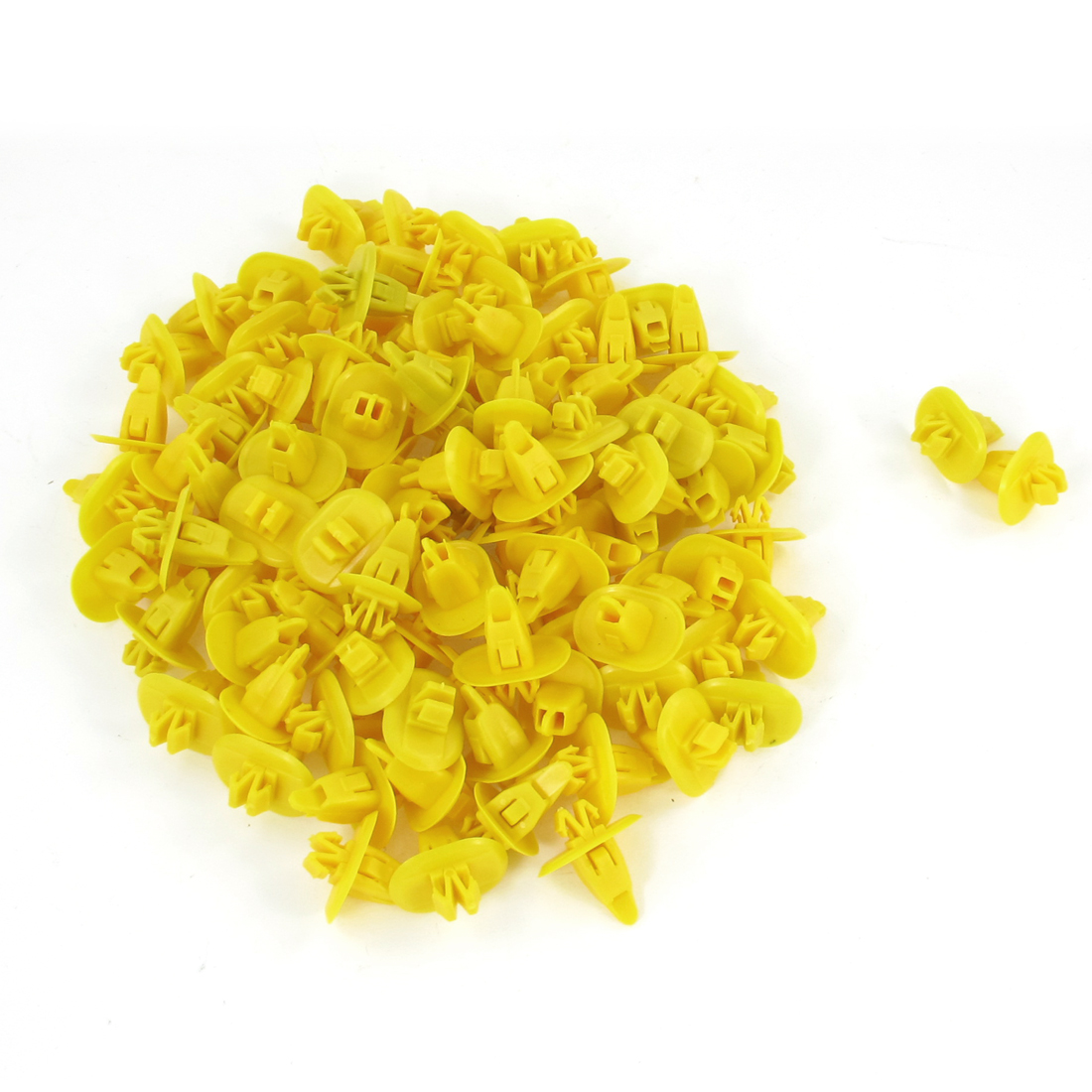 100 Pcs 8mm x 8mm Hole Yellow Plastic Rivet Fastener for Car Door