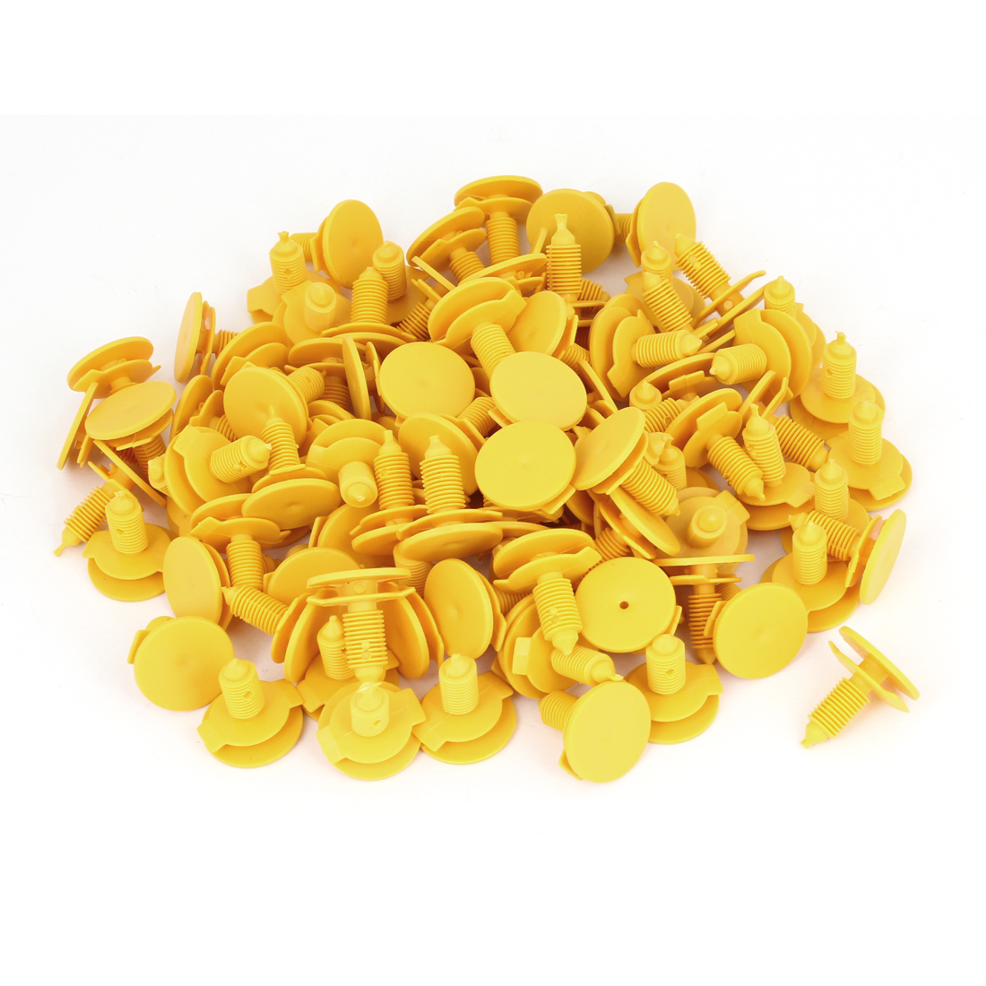 "100 x Van Truck Car 6.7mm 0.26"" Door Panel Yellow Plastic Rivets Retainer Clip"
