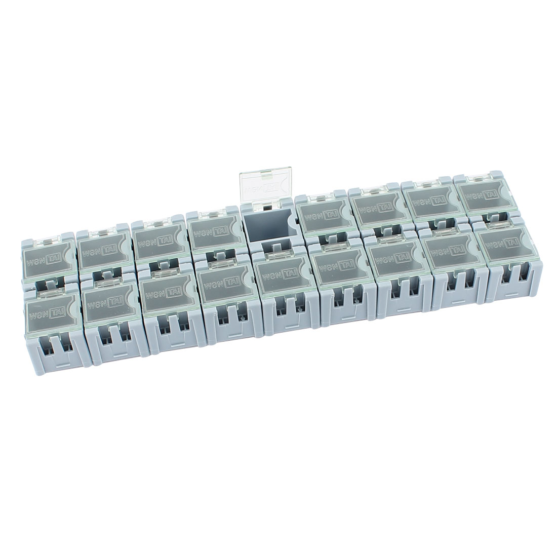 20 Pcs Rectangle Shape Clear Cover Plastic Electronic Components Storage Box