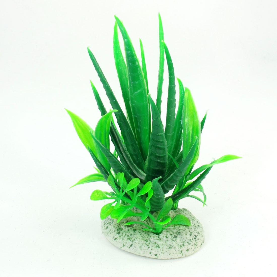 "4.7"" Height Underwater Green Plastic Grass Plant Ornament for Aquarium"
