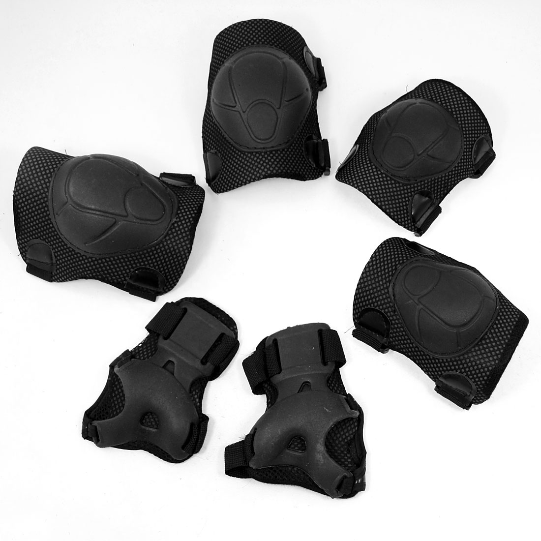 Kid Skating Skiing Black Adjustable Elbow Knee Palm Support Pad Set 6 in 1