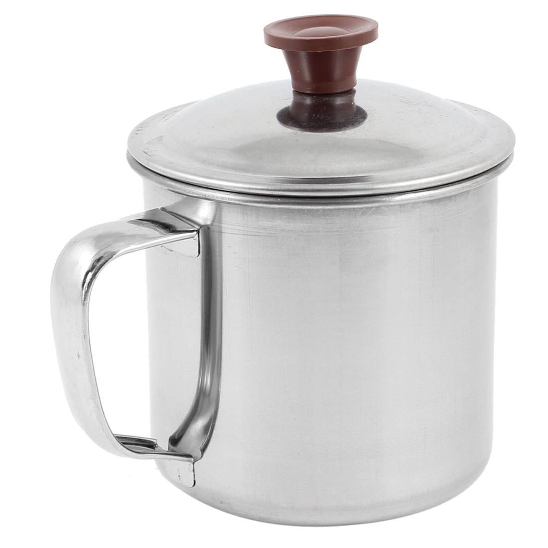 Office Silver Tone Stainless Steel 300mL Water Cup Mug w Cap