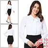 Woman Chic Button Decor Cuff Design Pure White Casual Blouse M