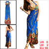 118795 Lady Blue Chain Pattern Halter Neck Dress/XS (US 0)
