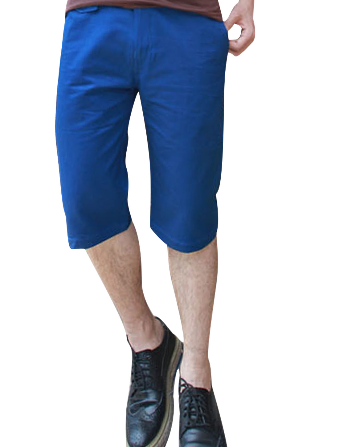Men Zipper Fly Waistband Loop Hip Pockets Short Pants Royal Blue W36
