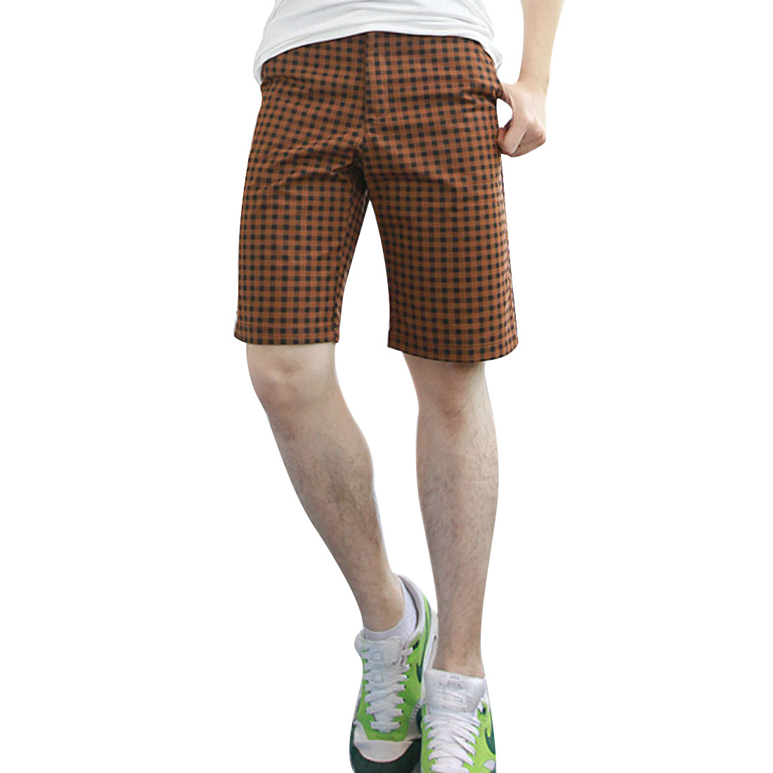 Man Check Pattern Hip Pockets Belt Loop Shorts Coffee W33